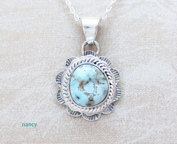 Small Dry Creek Turquoise & Sterling Silver Pendant  Navajo - 3260sn
