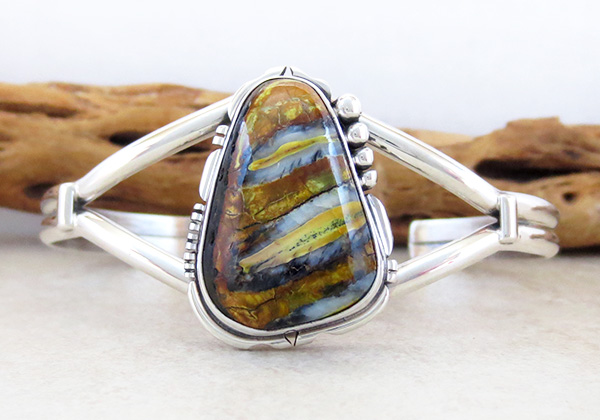 Image 0 of  Navajo Made Ancient Mammoth Tooth Stone & Sterling Silver Bracelet - 3264sn