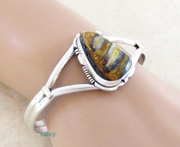 Image 1 of  Navajo Made Ancient Mammoth Tooth Stone & Sterling Silver Bracelet - 3264sn