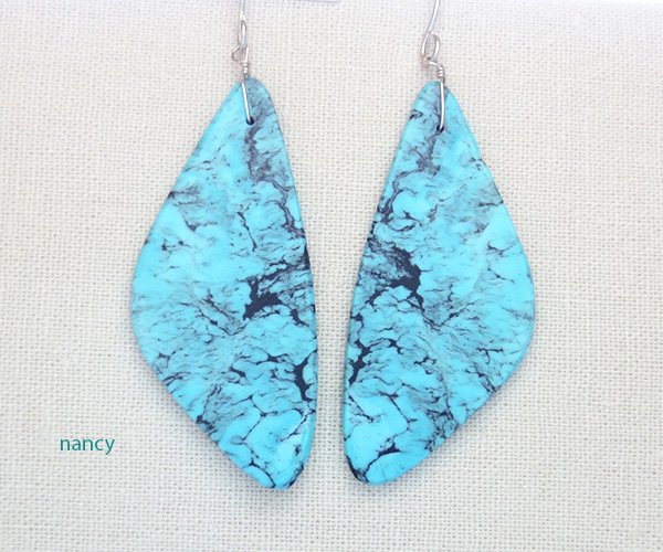 Image 0 of    Turquoise Slab Earrings Native American Jewelry Kewa - 3265rio