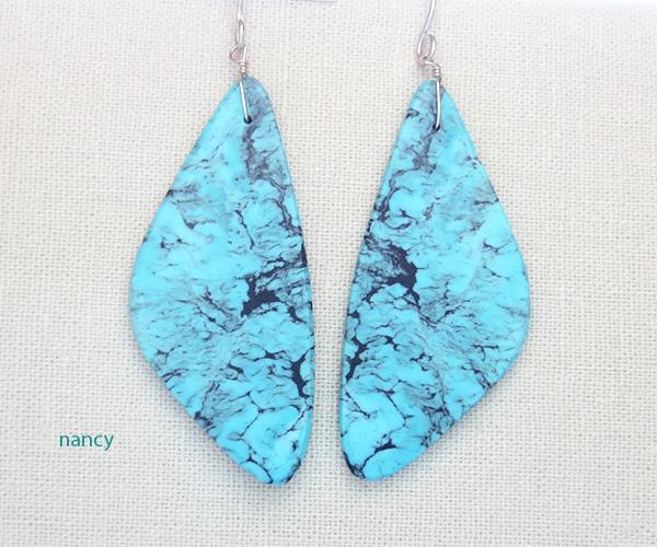 Turquoise Slab Earrings Native American Kewa - 3265rio