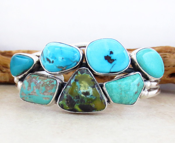 Image 0 of Native American Multi Stone Nevada Turquoise & Sterling Silver Bracelet - 3268sn