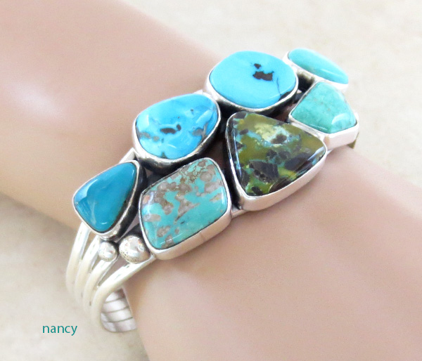 Image 1 of Native American Multi Stone Nevada Turquoise & Sterling Silver Bracelet - 3268sn