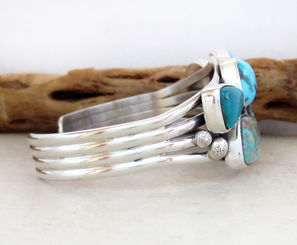 Image 2 of Native American Multi Stone Nevada Turquoise & Sterling Silver Bracelet - 3268sn