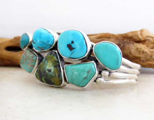 Image 3 of Native American Jewelry Turquoise & Sterling Silver Bracelet - 3268sn