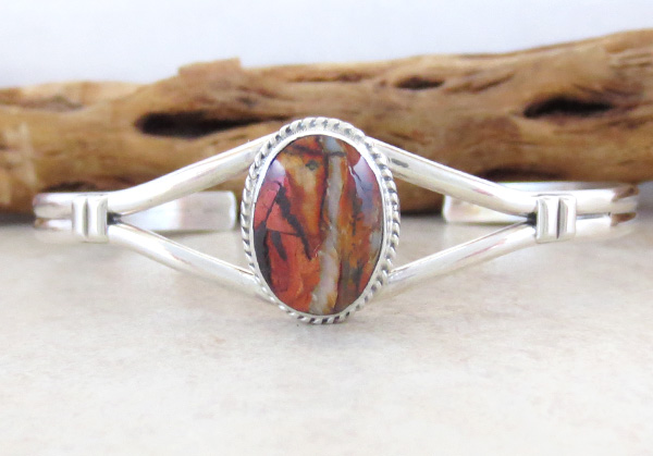 Ancient Mammoth Tooth Stone & Sterling Silver Bracelet Navajo - 4378sn