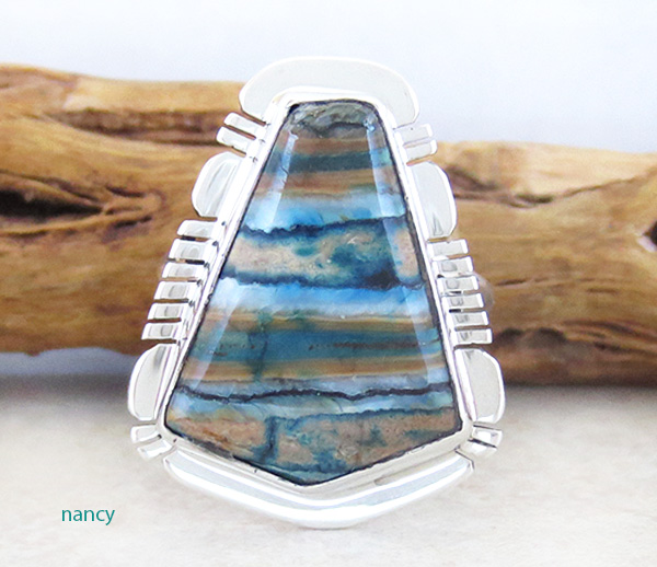 Image 0 of Mammoth Tooth Stone & Sterling Silver Ring Size 9 Native American - 4147sn