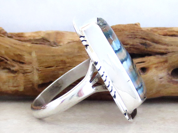 Image 1 of Mammoth Tooth Stone & Sterling Silver Ring Size 9 Native American - 4147sn