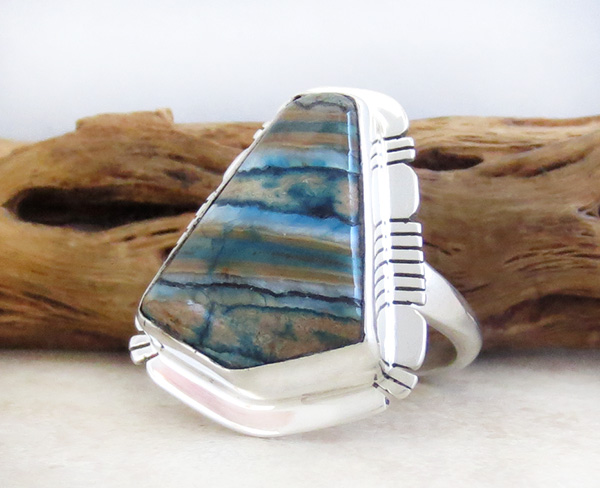 Image 2 of Mammoth Tooth Stone & Sterling Silver Ring Size 9 Native American - 4147sn