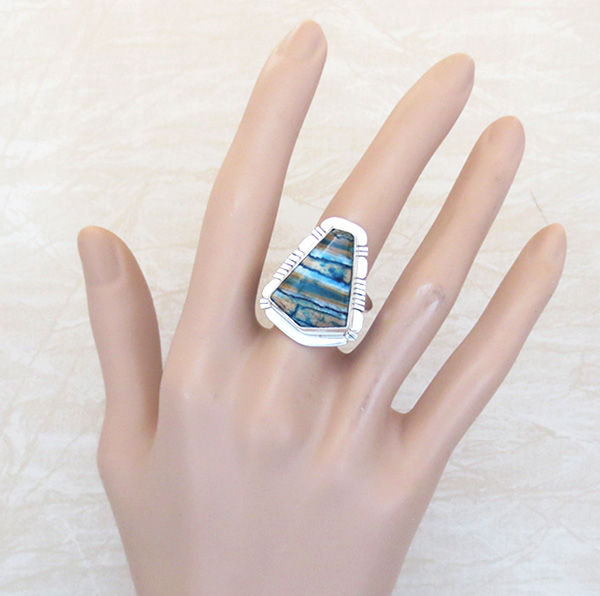 Image 4 of Mammoth Tooth Stone & Sterling Silver Ring Size 9 Native American - 4147sn