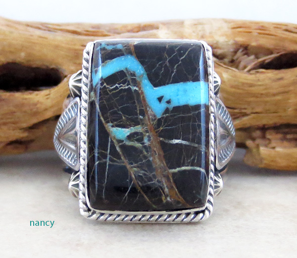 Image 0 of    Turquoise & Sterling Silver Ring Size 9.75 Native American - 2875sn