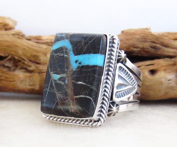 Image 2 of    Turquoise & Sterling Silver Ring Size 9.75 Native American - 2875sn