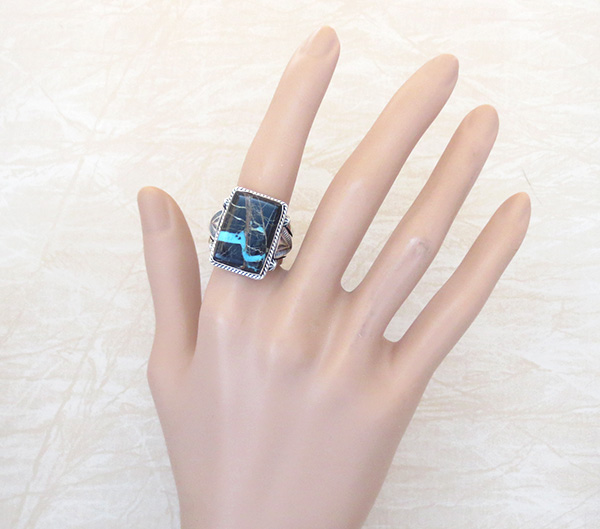 Image 4 of    Turquoise & Sterling Silver Ring Size 9.75 Native American - 2875sn