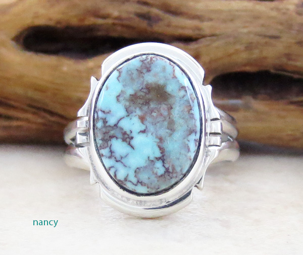 Little Dry Creek Turquoise & Sterling Silver Ring Size 4.75 Navajo - 2980sn