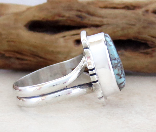 Image 1 of      Little Dry Creek Turquoise & Sterling Silver Ring Size 4.75 Navajo - 2980sn