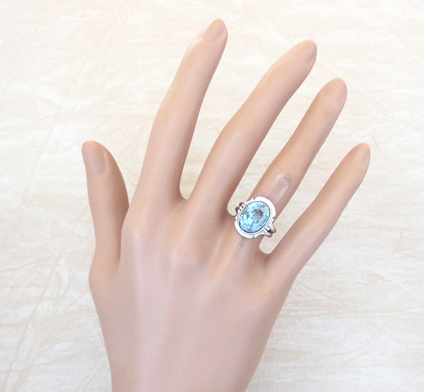 Image 3 of      Little Dry Creek Turquoise & Sterling Silver Ring Size 4.75 Navajo - 2980sn