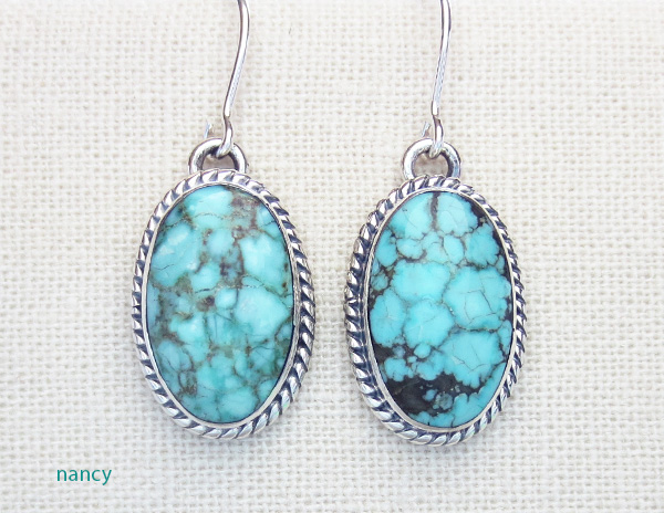 Turquoise & Sterling Silver Earrings Native American Made - 3267sn