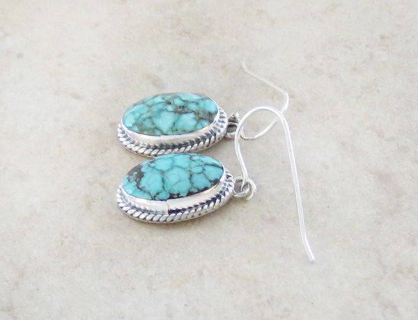 Image 1 of     Turquoise & Sterling Silver Earrings Native American Made - 3267sn