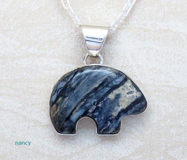 Image 0 of Native American Mammoth Tooth Stone & Sterling Silver Bear Pendant - 2879sn