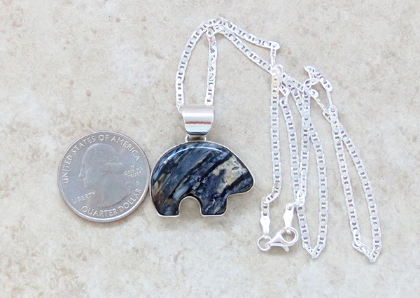 Image 1 of Native American Mammoth Tooth Stone & Sterling Silver Bear Pendant - 2879sn