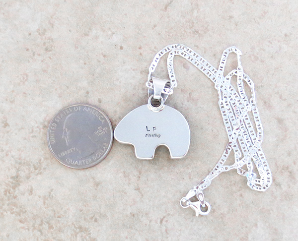 Image 4 of Native American Mammoth Tooth Stone & Sterling Silver Bear Pendant - 2879sn
