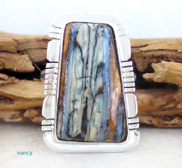Image 0 of Mammoth Tooth Stone & Sterling Silver Ring Size 8 Native American - 4379sn