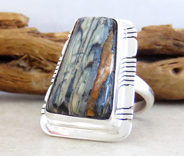 Image 2 of Mammoth Tooth Stone & Sterling Silver Ring Size 8 Native American - 4379sn