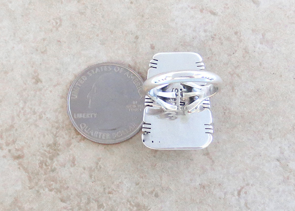 Image 3 of Mammoth Tooth Stone & Sterling Silver Ring Size 8 Native American - 4379sn