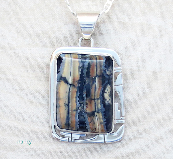 Image 0 of      Ancient Mammoth Tooth Stone & Sterling Silver Pendant Navajo - 4381sn