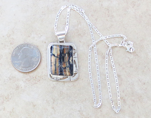Image 1 of Mammoth Tooth Stone & Sterling Silver Pendant Navajo - 4381sn