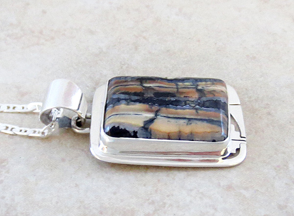 Image 2 of      Ancient Mammoth Tooth Stone & Sterling Silver Pendant Navajo - 4381sn