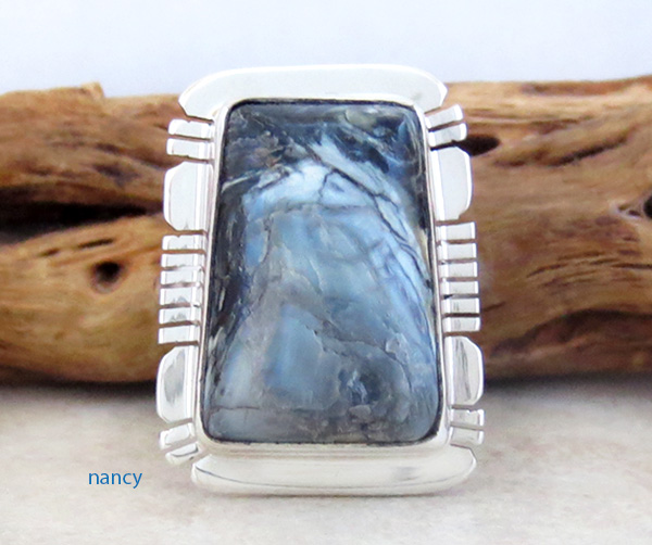 Image 0 of Mammoth Tooth Stone & Sterling Silver Ring Size 7 Native American - 4254sn