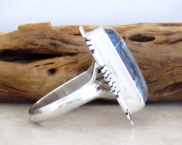 Image 1 of Mammoth Tooth Stone & Sterling Silver Ring Size 7 Native American - 4254sn