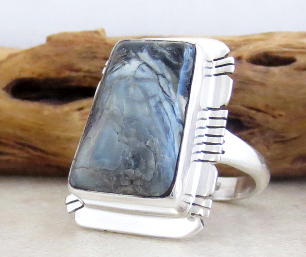 Image 2 of Mammoth Tooth Stone & Sterling Silver Ring Size 7 Native American - 4254sn