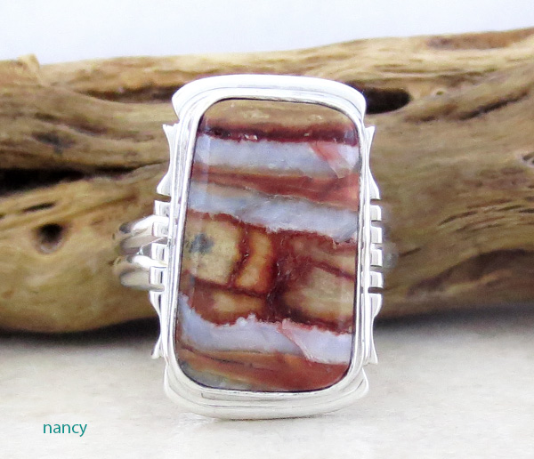 Image 0 of Mammoth Tooth Stone & Sterling Silver Ring Size 7 Native American - 4251sn