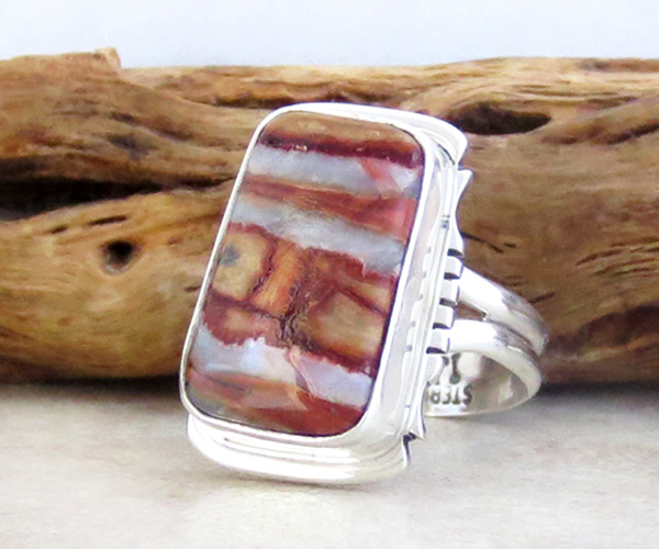 Image 2 of Mammoth Tooth Stone & Sterling Silver Ring Size 7 Native American - 4251sn