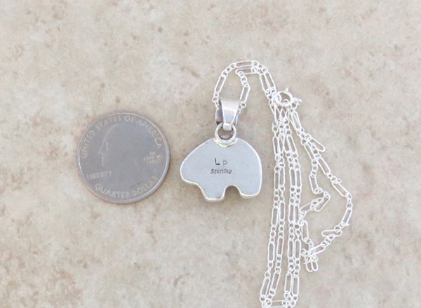 Image 4 of  Small Ancient Mammoth Tooth Stone & Sterling Silver Bear Pendant Navajo- 4253sn