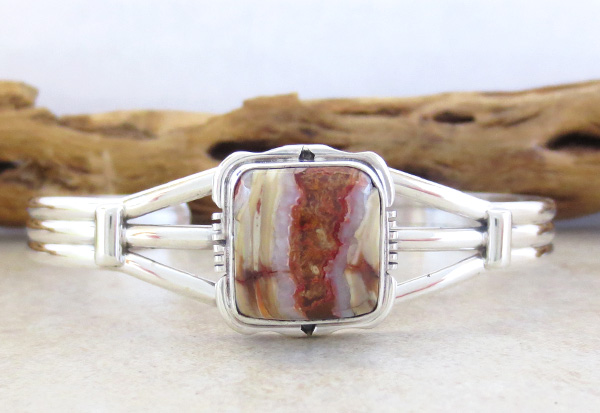Image 0 of   Native American Mammoth Tooth Stone & Sterling Silver Bracelet - 2985sn