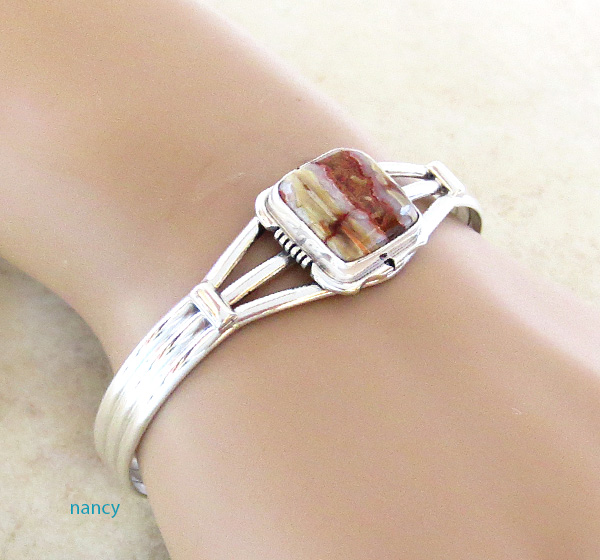 Image 1 of   Native American Mammoth Tooth Stone & Sterling Silver Bracelet - 2985sn