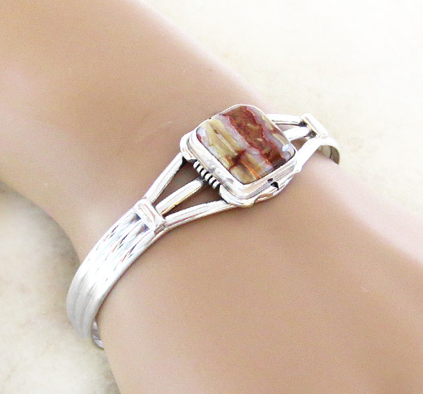 Image 1 of   Native American Mammoth  Stone & Sterling Silver Bracelet - 2985sn