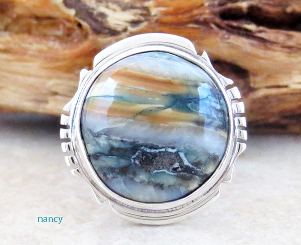 Image 0 of Mammoth Tooth Stone & Sterling Silver Ring Size 7 Native American - 2986sn