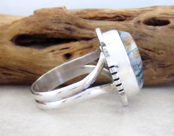 Image 1 of Mammoth Tooth Stone & Sterling Silver Ring Size 7 Native American - 2986sn