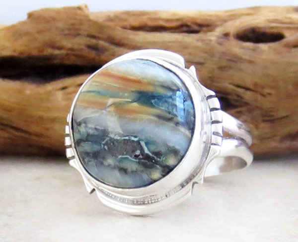 Image 2 of Mammoth Tooth Stone & Sterling Silver Ring Size 7 Native American - 2986sn
