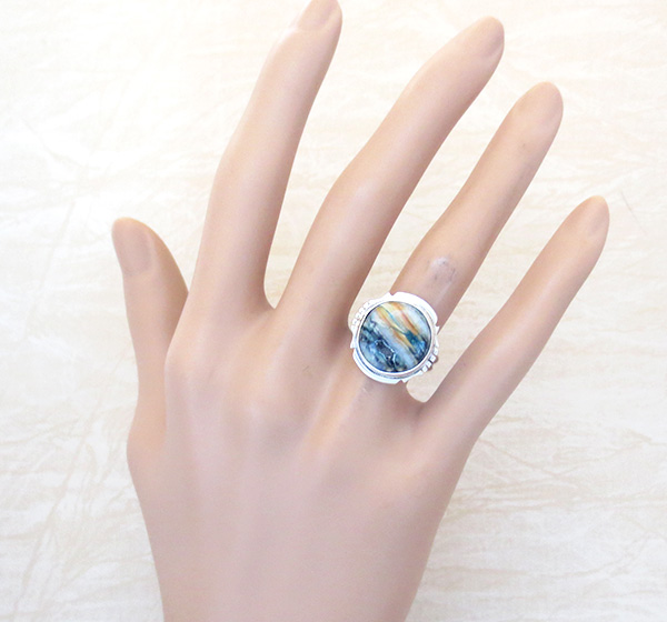 Image 4 of Mammoth Tooth Stone & Sterling Silver Ring Size 7 Native American - 2986sn