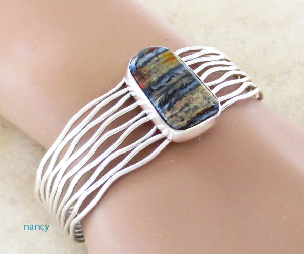 Image 1 of Native American Ancient Mammoth Tooth Stone & Sterling Silver Bracelet  - 4148sn