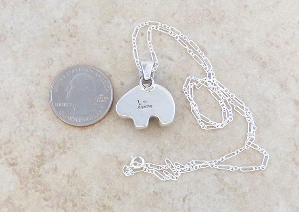 Image 4 of     Small Mammoth Tooth Stone & Sterling Silver Bear Pendant Navajo - 4384sn