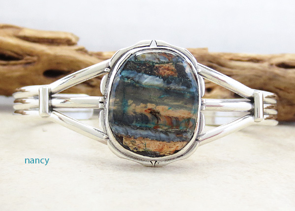 Image 0 of  Navajo Ancient Mammoth Tooth Stone & Sterling Silver Bracelet Cuff - 4156sn