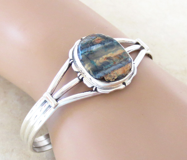 Image 1 of  Navajo Ancient Mammoth Tooth Stone & Sterling Silver Bracelet Cuff - 4156sn