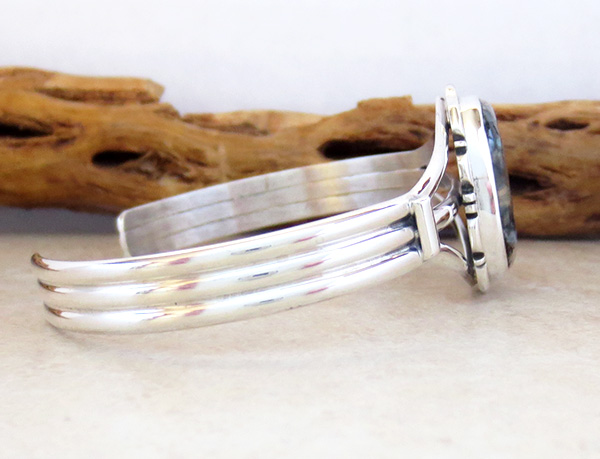 Image 2 of  Navajo Ancient Mammoth Tooth Stone & Sterling Silver Bracelet Cuff - 4156sn