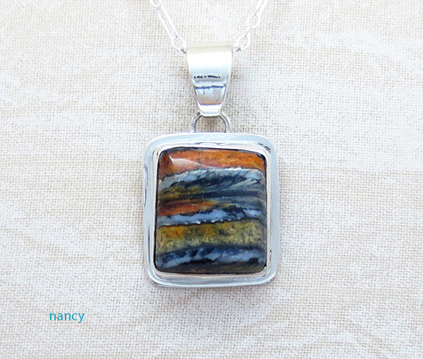 Image 0 of    Native American Mammoth Tooth Stone & Sterling Silver Pendant - 2987sn